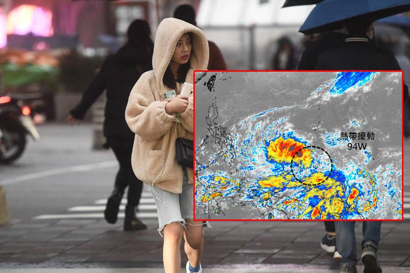 吳聖宇在臉書粉專「天氣職人-吳聖宇」發文表示,該熱帶擾動「94W」結構還很鬆散,環流很大,所以要整合需要比較長的一段時間。(本報合成)