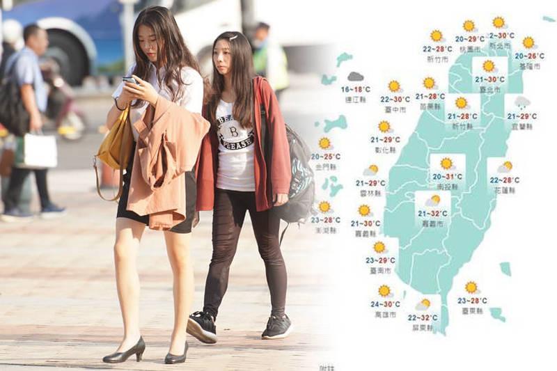 天氣風險公司則指出,明日午間高溫有30至35度,然而晚間東北季風增強,北部氣溫可能下降至18度。(本報合成)