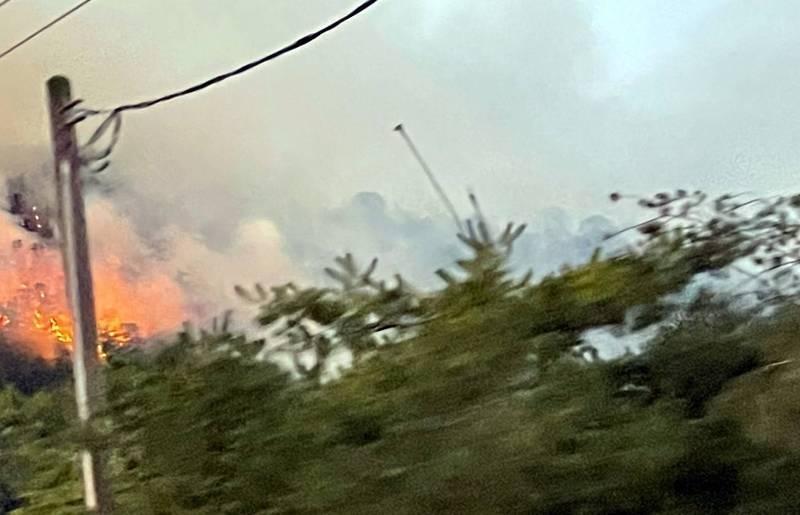 南投縣魚池鄉傍晚5時左右,發生1起森林火警,濃煙伴隨熊熊烈火延燒情形。(記者謝介裕翻攝)