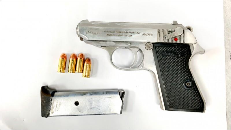 警方從蔡男身上起獲改造手槍、彈匣1個、子彈4發。(記者鄭景議翻攝)