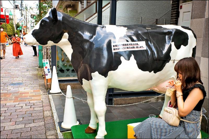 為達成削減溫室氣體排放量的國家目標,日本政府將腦筋動到減少牛隻吃下飼料後,藉由打嗝釋放的甲烷。圖為東京都目黑區「自由之丘」一間餐廳外的乳牛雕像。(彭博檔案照)