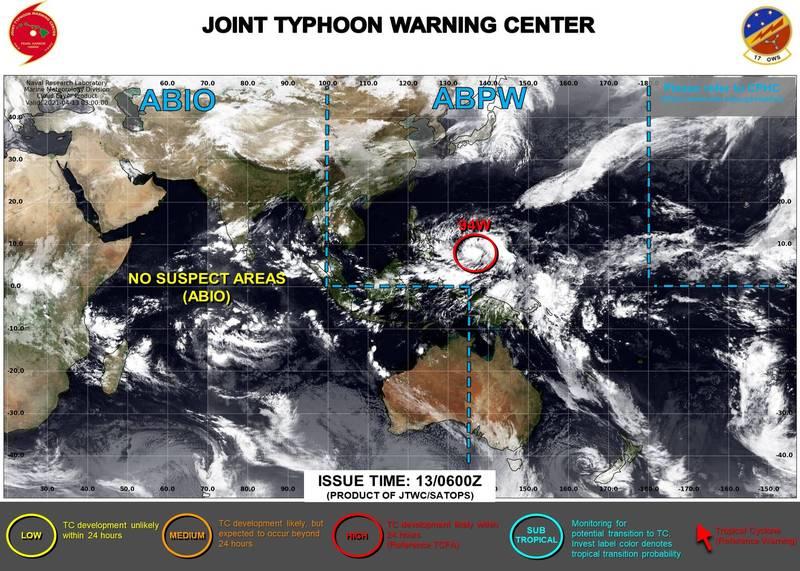 美國聯合颱風警報中心目前已對菲律賓東方海面上持續發展中的熱帶性低氣壓發布紅色警示。(圖取自JTWC)