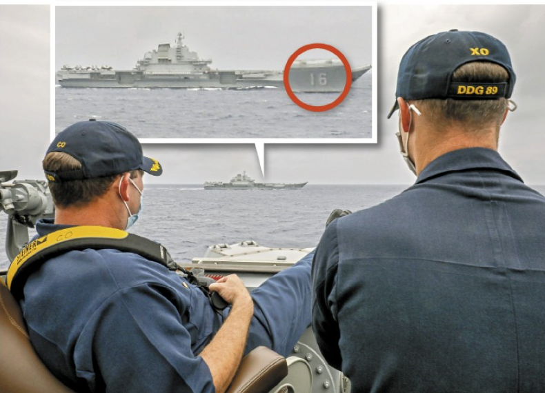 美國馬斯廷號驅逐艦和中國遼寧號並排而行,期間美國艦長翹腳的畫面引發熱議,民進黨立委林俊憲就分析中共遼寧艦的兩大敗筆。(圖翻攝自美國海軍官網)