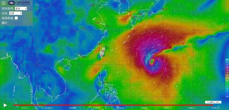 「風場預報顯示圖」最新顯示,菲律賓東方海面上的熱帶性低氣壓在13日將逐漸增強,預估18日就會北轉,接著一路朝向東北方向前進。(圖取自中央氣象局)