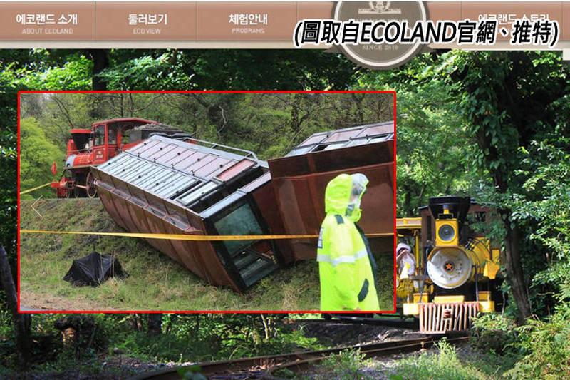 南韓濟州島知名遊樂園「ECOLAND」的遊園列車昨天(12日)驚傳出軌翻覆事故,造成37人輕重傷。(圖翻攝自推特、「ECOLAND」官網,本報合成)