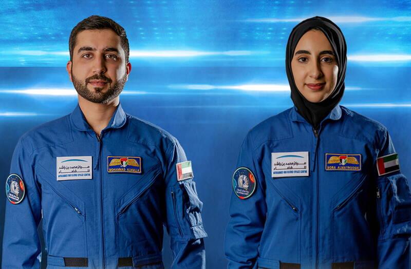 阿拉伯聯合大公國日前宣布,已選出2名新太空人,28歲女性阿爾瑪特魯西(右)與33歲男性阿爾穆拉(左)。(歐新社)