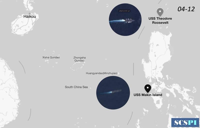 中國智庫、北京大學海洋研究院「南海戰略態勢感知」(SCSPI)推特發布衛星照片及相關訊息指出,美軍羅斯福號航艦打擊群昨天在巴士海峽海域展開海空聯合操演,參與的美軍軍機包括EP-3E丶RC-135W丶KC-135T及C-2A等多型軍機。(圖:取自SCSPI推特)