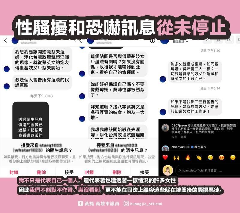 黃捷臉書再次收到一波性騷擾與恐嚇訊息。(黃捷臉書)