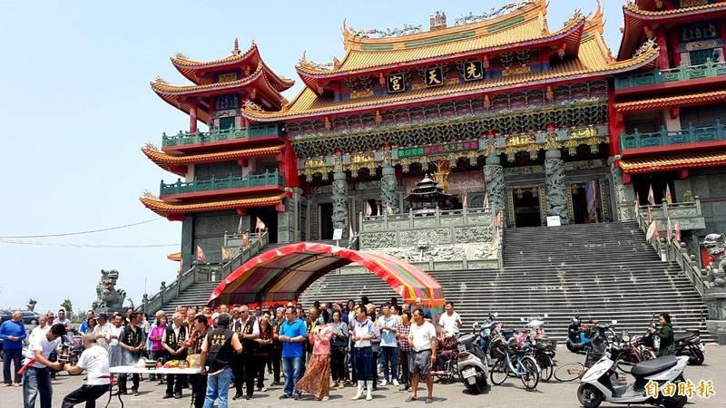 東石先天宮今天舉辦祈雨儀式。(記者林宜樟攝)
