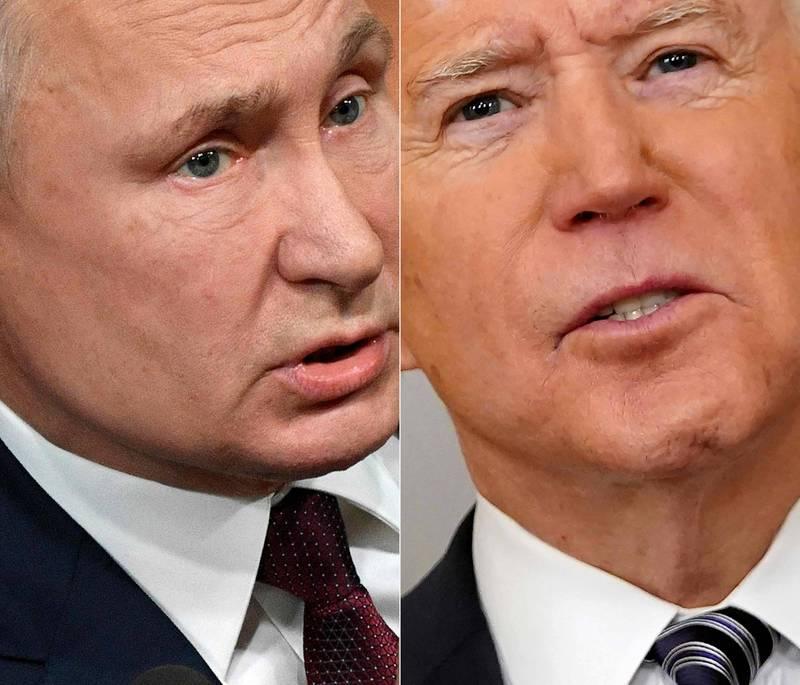 美總統拜登(右)呼籲俄總統普廷(左)減緩緊張情勢。(法新社)