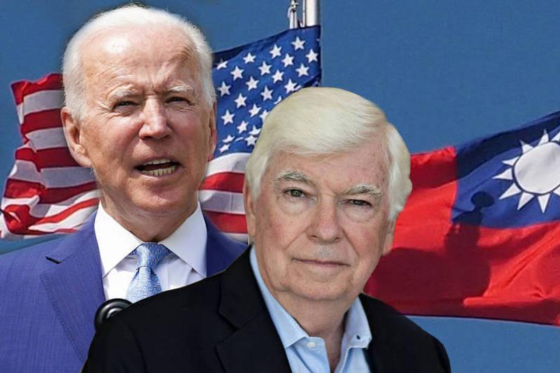 美國總統拜登派遣「非官方」代表團訪台,其中包含前美國參議員、拜登好友陶德(Chris Dodd)。(本報合成)