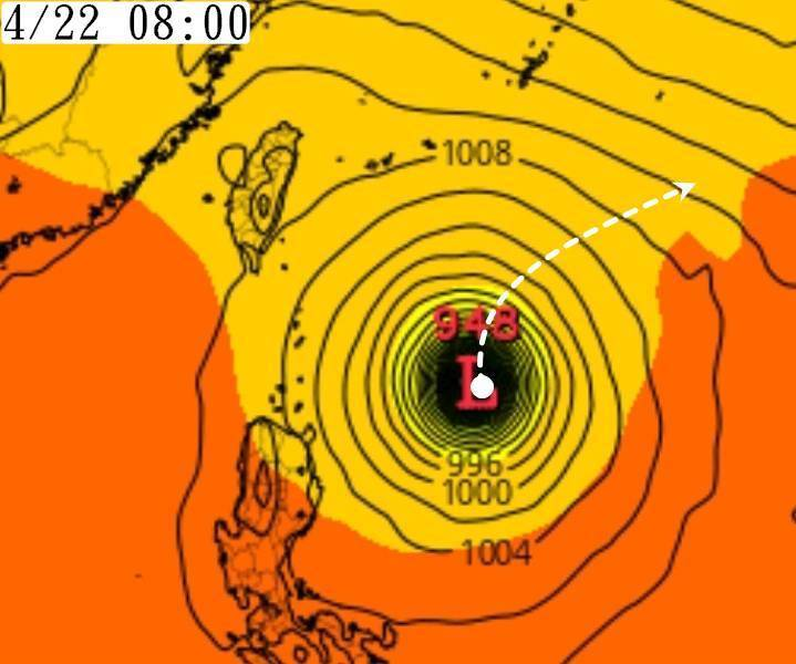 《觀氣象看天氣》提到,西修的主要原因在於北方槽線稍提前北收,颱風北側的高壓勢力減弱速度較慢。(圖取自臉書《觀氣象看天氣》)