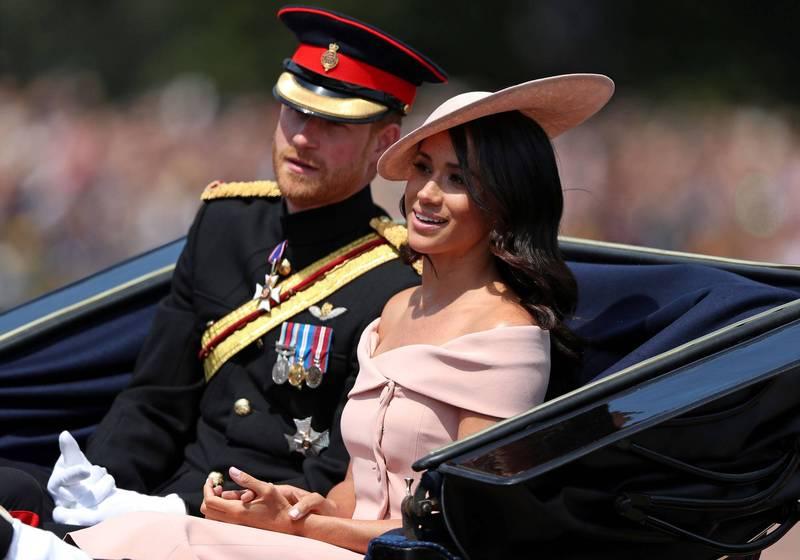 英國哈利王子與妻子梅根。(法新社)