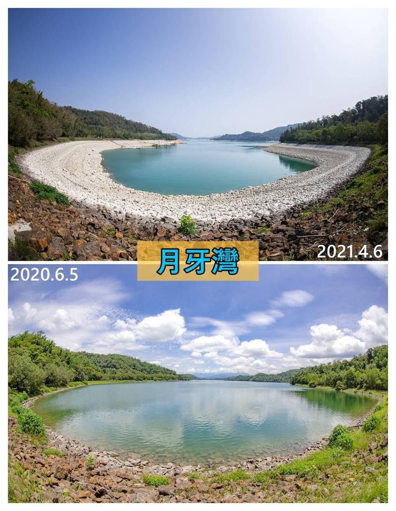 日月潭嚴重乾旱,有人形容月牙灣成了嘉明湖。(南投縣政府提供)