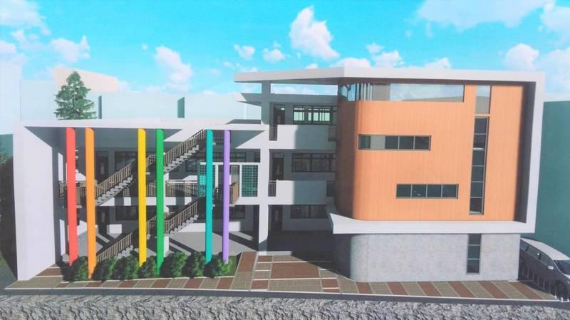 頭份國小前棟校舍拆除重建工程,開工動土,預計明年4月完工。(記者彭健禮翻攝)