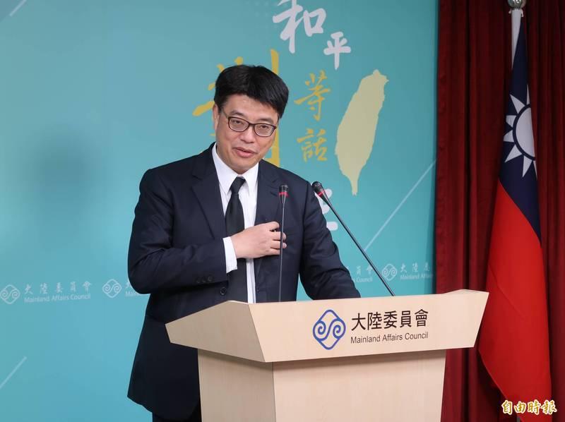 陸委會發言人邱垂正今日指出,呼籲中共當局要本於尊重歷史事實,充分理解台灣的民意走向,要正視中華民國客觀存在的事實。(記者陳鈺馥攝)