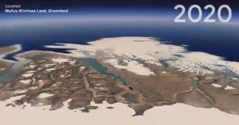 Google Earth日前設計了一項令人大開眼界的最新功能──「縮時攝影(Timelapse)」,使用者可以透過這項技術看到過去40年來,氣候變遷和人類行為,讓地球產生了什麼樣驚人的改變。(圖擷取自Google Earth推特)