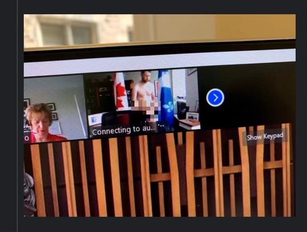 加拿大國會議員阿瑪斯(William Amos),昨日參加線上視訊會議時不知道鏡頭已經打開,意外全裸入鏡。(擷取自推特)
