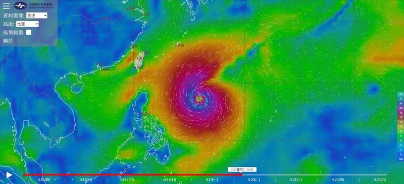 氣象局「風場預測顯示圖」,颱風在行進過程中持續增強。(圖取自氣象局)