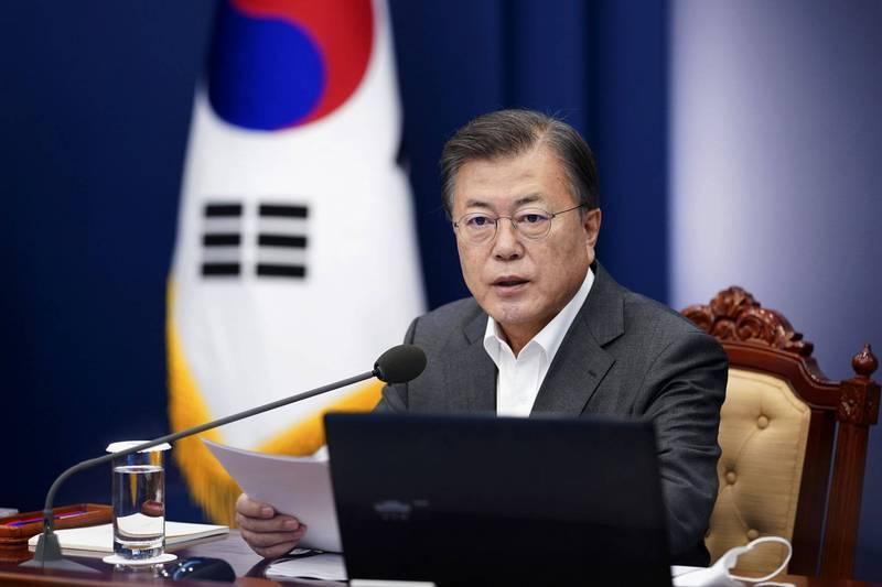 南韓總統文在寅(見圖)明日將宣布內閣改組名單。(美聯社)