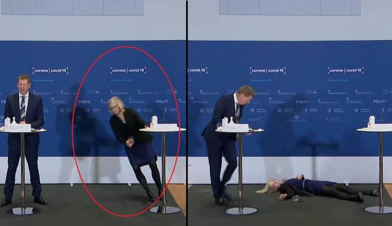 記者會上,藥物管理局主任艾瑞克森(Tanja Erichsen)突然失去意識重摔在地,嚇壞現場所有人。(擷取自推特)