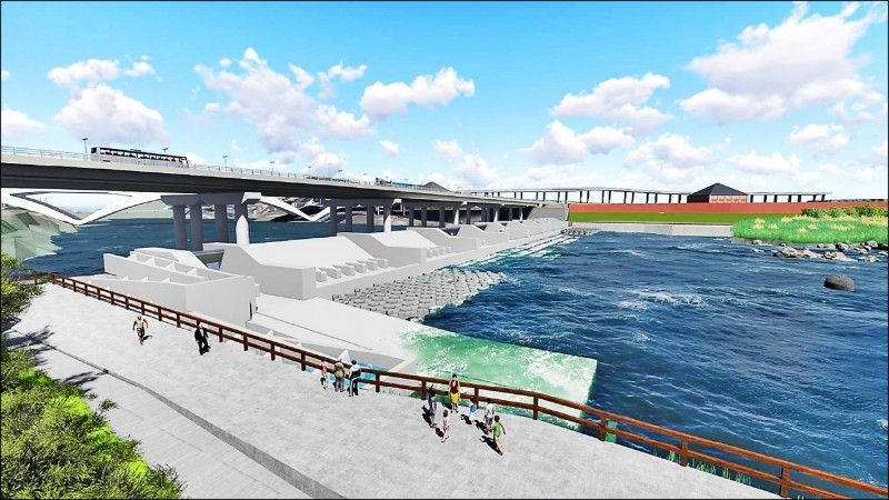碧潭堰重建完工示意圖,左側為生態魚道。(新北市水利局提供)