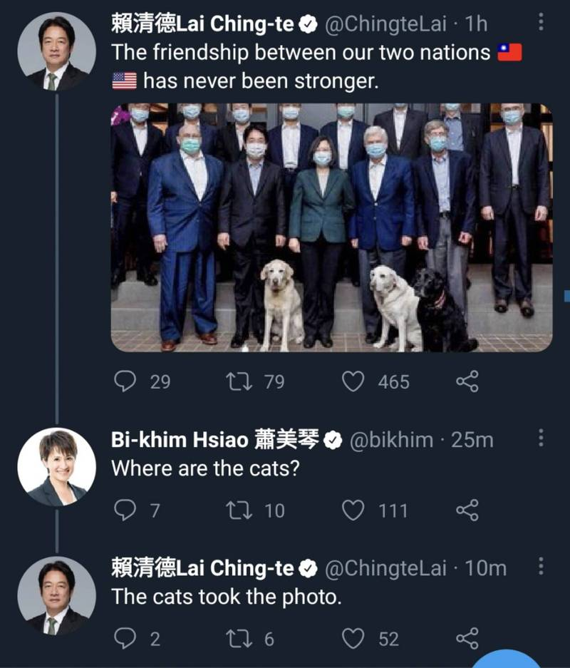 總統蔡英文宴請陶德一行,狗狗成為吸睛焦點,蕭美琴留言:「貓咧?」副總統賴清德回應:「在拍照啊。」(擷取自賴清德推特)