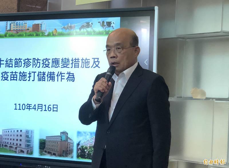 蘇貞昌表示,他整天為台灣事務行程滿檔,1天都沒辦法神隱。(記者周湘芸攝)