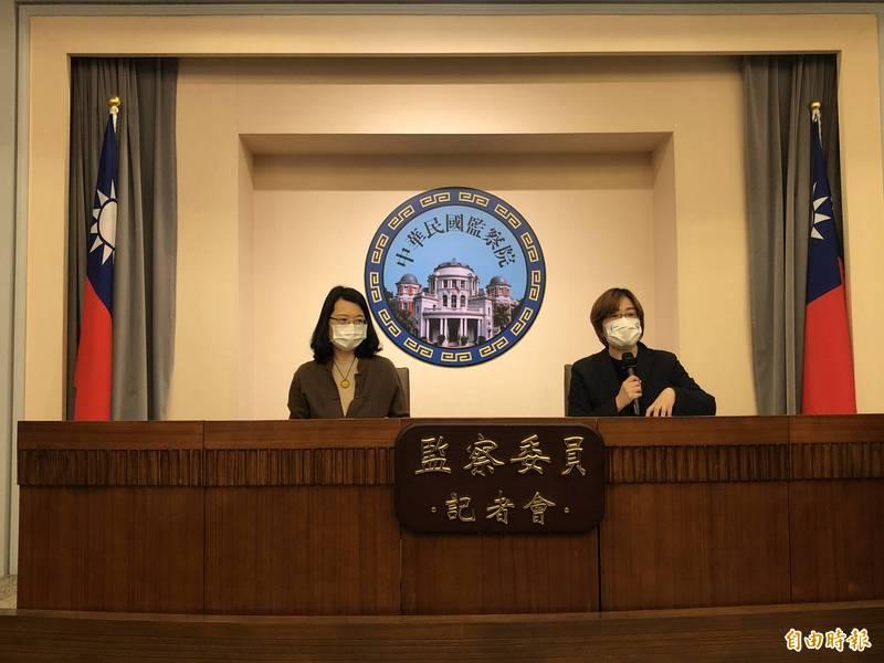 監委葉大華(右)、王美玉(左)開記者會,宣布糾舉桃少輔院校長邱量一、訓導科長林文志。(記者陳昀攝)