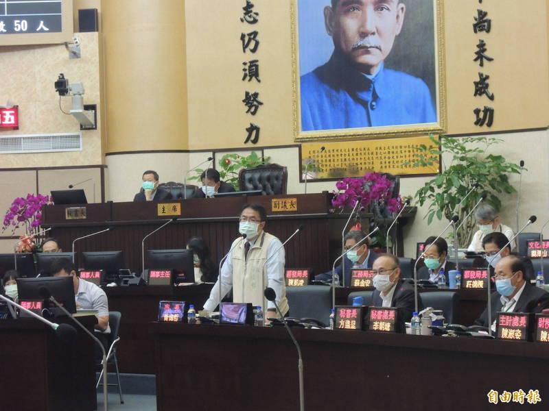 南市議會第3屆第5次定期會今天開幕,市長黃偉哲率各局處一級首長出席進行施政報告。(記者王姝琇攝)