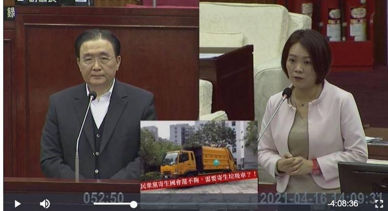 台北市環保局長劉銘龍(左)、台北市議員簡舒培(右)。(翻攝議會影片)