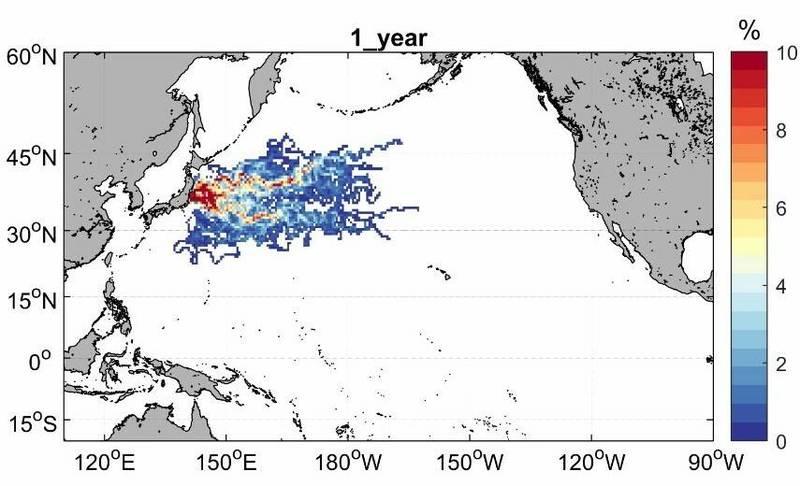 海大運用衛星動畫,模擬核廢水排放1年後隨海流移動軌跡的機率密度分布圖。(記者林欣漢翻攝)
