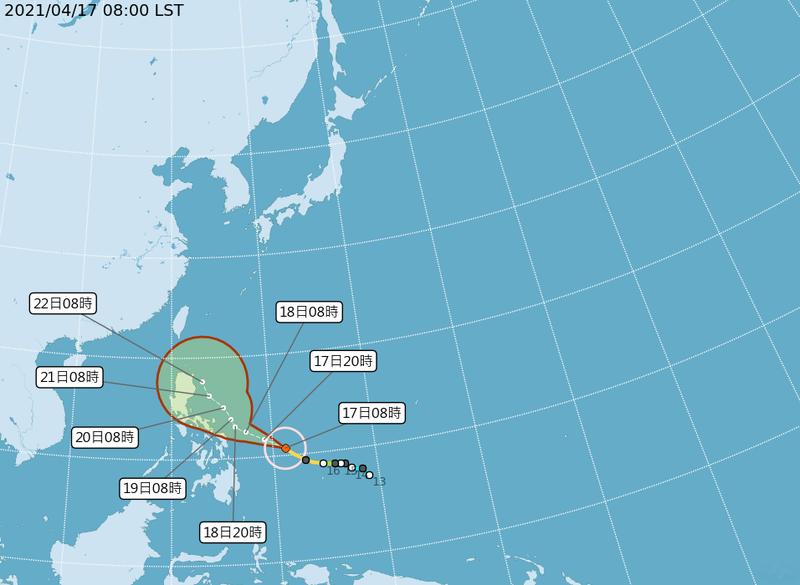 今年第2號颱風舒力基目前為中度颱風,上午8時的中心位置在北緯10.7度,東經131.2度,以每小時20公里速度,向西北西進行。(擷取自中央氣象局)