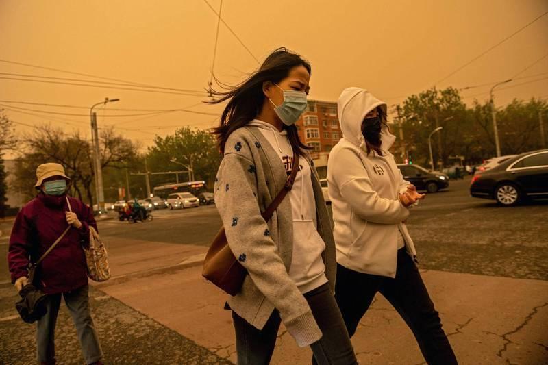 中國近來沙塵暴肆虐。(法新社)