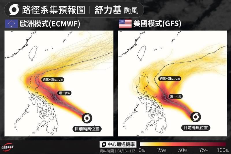 颱風論壇下午PO文,分享歐美兩大模式針對舒力基進行的路徑模擬結果。(擷取自颱風論壇臉書粉專)