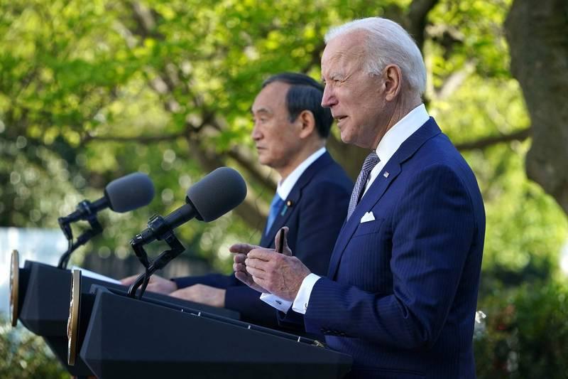 美國總統拜登(Joe Biden)與日本首相菅義偉16日在白宮進行兩國領袖會議。(法新社)