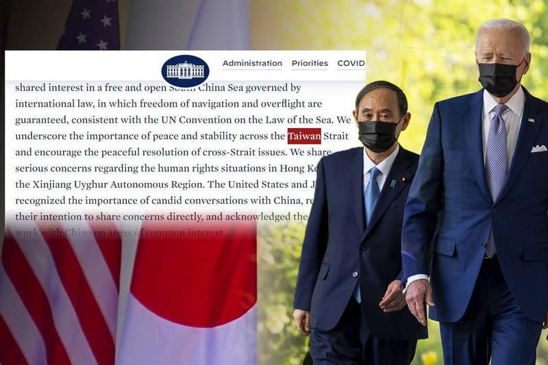 美國總統拜登與日本首相菅義偉進行兩國領袖峰會,會後兩國發表聯合聲明,這是1969年以來美日聯合聲明首次提到台灣。(本報合成)