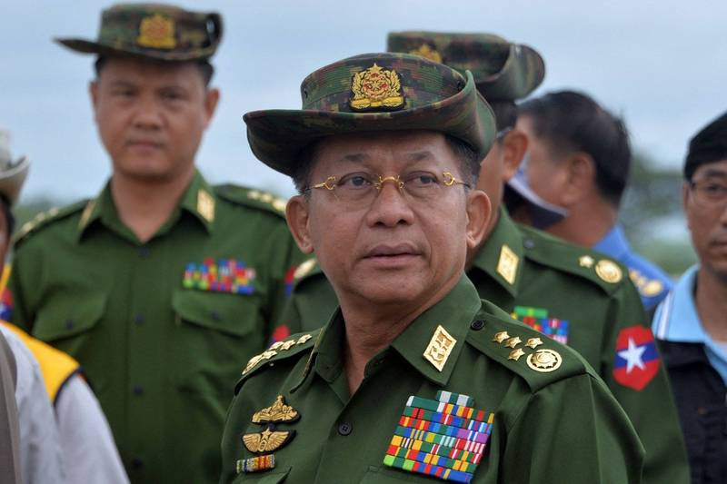 緬甸軍政府統治者敏昂萊將會出席4月24日在印尼舉辦的東南亞國家協會(ASEAN)首腦會議。(法新社)