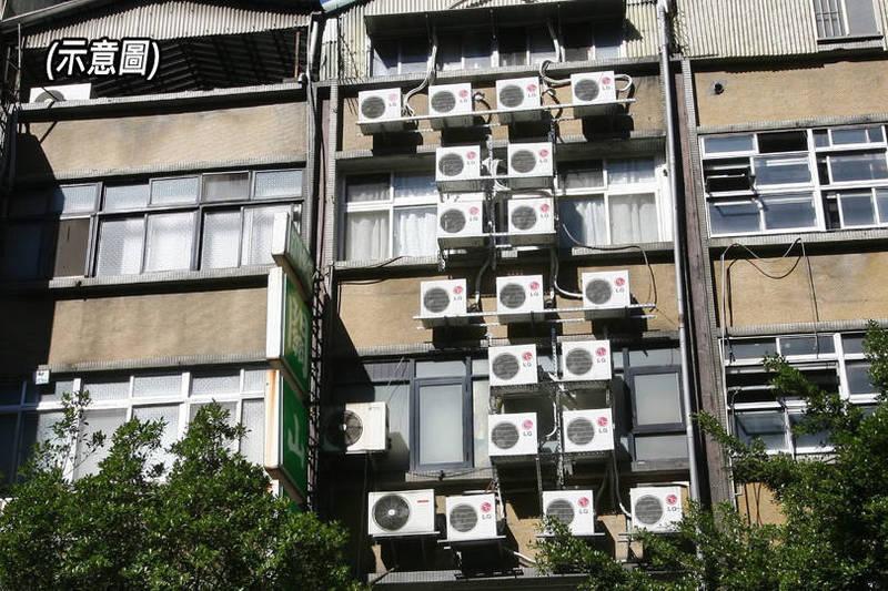 台北市一名于姓男子,在外牆加裝一個下方鐵板、周遭柵欄的支架,以保護多部冷氣戶外機,被台北市政府都發局認定違反建築法。(示意圖,本報合成)