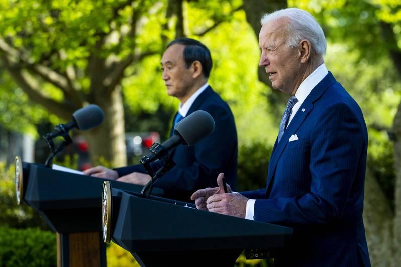 美國總統拜登、日本首相菅義偉發表聯合聲明。(歐新社)