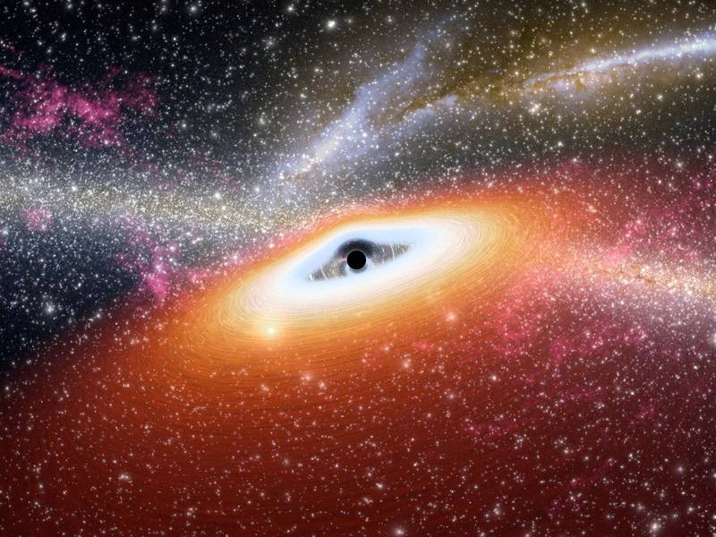 美國哈佛-史密松天體物理中心最新黑洞研究發現,距離地球2.3億光年的星系,有個超級黑洞以時速17萬7027公里的速度移動中。黑洞示意圖。(歐新社檔案照)
