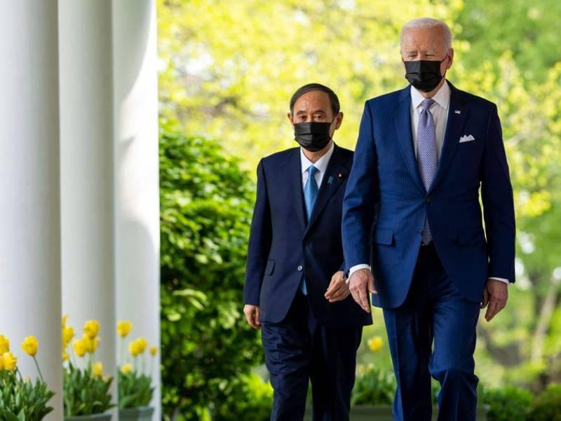 美國總統拜登(Joe Biden)與日本首相菅義偉16日在白宮進行兩國領袖會議。(歐新社)