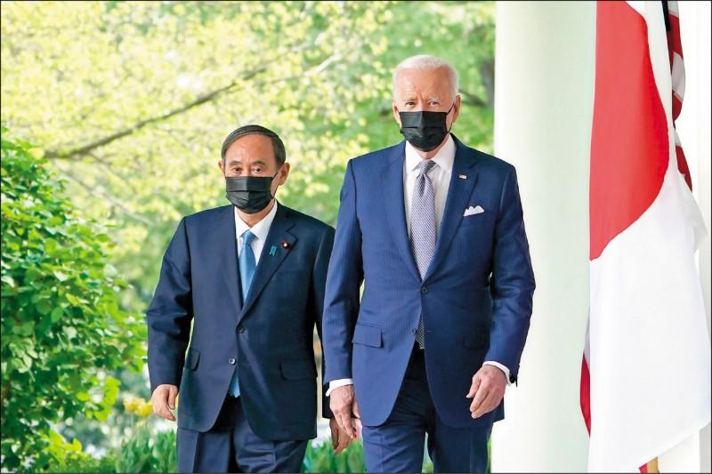 美日領袖峰會十七日發表聯合聲明強調「台灣海峽和平穩定的重要性」,被視為是兩國向全世界宣告「美日將聯手對抗中國霸權」的里程碑。(法新社)