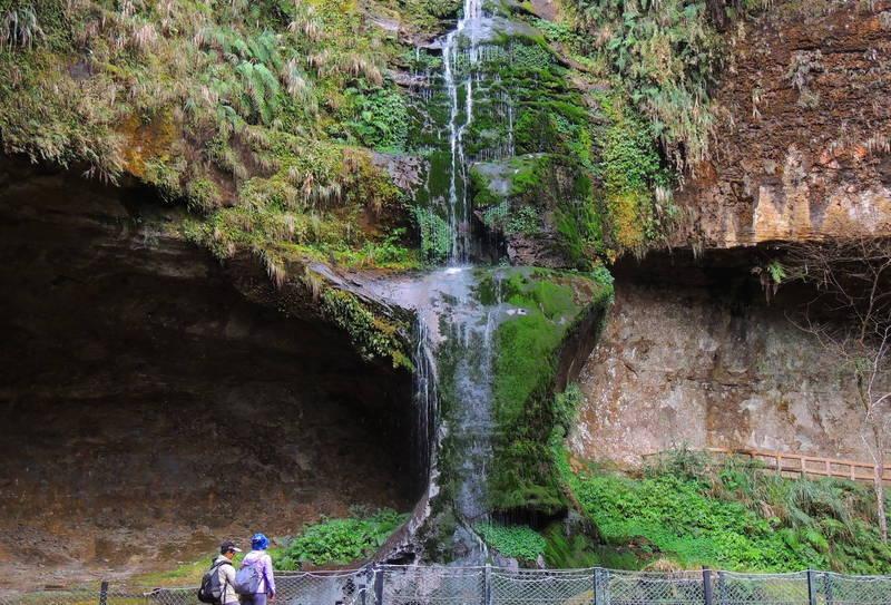 南投避暑勝地杉林溪園區因久旱不雨,導致有「杉林溪首景」稱號的松瀧岩瀑布水勢大減。(記者劉濱銓翻攝)