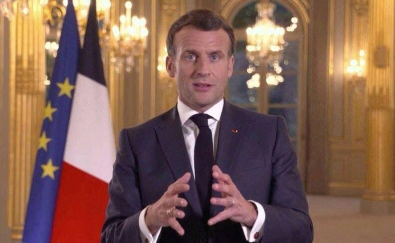 法國總統馬克宏接受美國哥倫比亞廣播公司(CBS)採訪時表明對俄態度。(法新社)