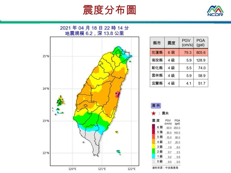 昨晚(18日)10點14分花蓮發生規模6.2地震。(圖擷取自國家災害防救科技中心)