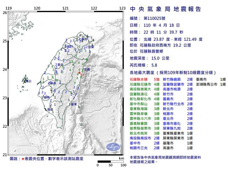 第一起地震在晚間10時11分,規模5.8,震央在花蓮縣壽豐鄉,深度15公里,花蓮達5強級。(圖取自中央氣象局)