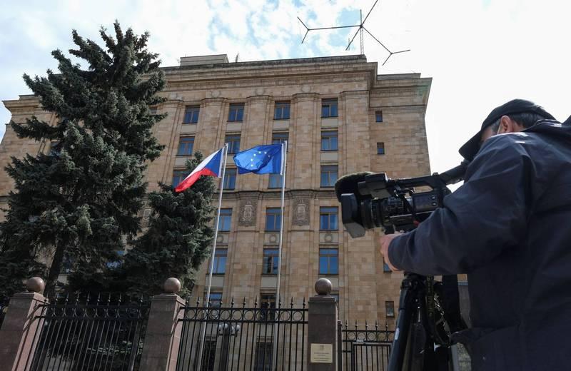 俄羅斯外交部稱將對捷克驅除外交官的舉動展開報復。圖為捷克在俄羅斯首都莫斯科的大使館。(路透)