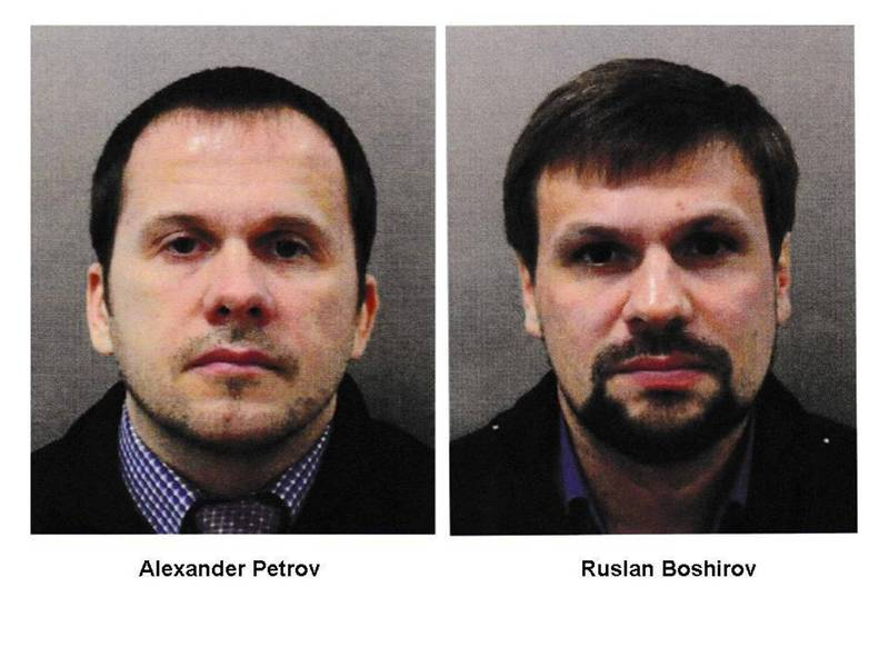 倫敦警察廳於2018年公布兩名俄國特務照片。(歐新社)