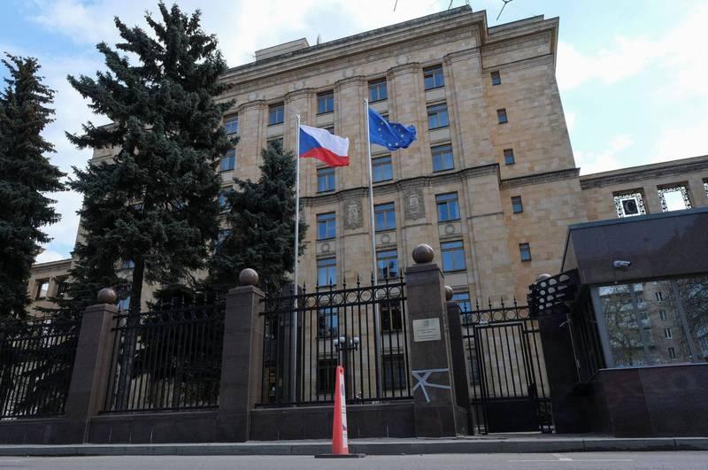 俄羅斯驅逐20名捷克外交官。圖為捷克駐莫斯科大使館。(路透)
